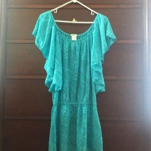 Jessica Simpson L turquoise bathing suit cover up